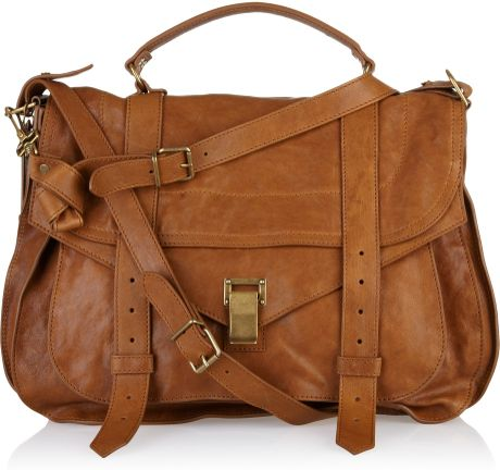 Proenza Schouler Ps1 Extra Large Leather Satchel in Brown (caramel) - Lyst