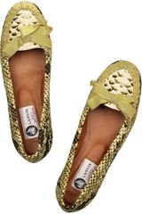 Lanvin Snakeprint Cottoncanvas Moccasins in Animal (snake) - Lyst