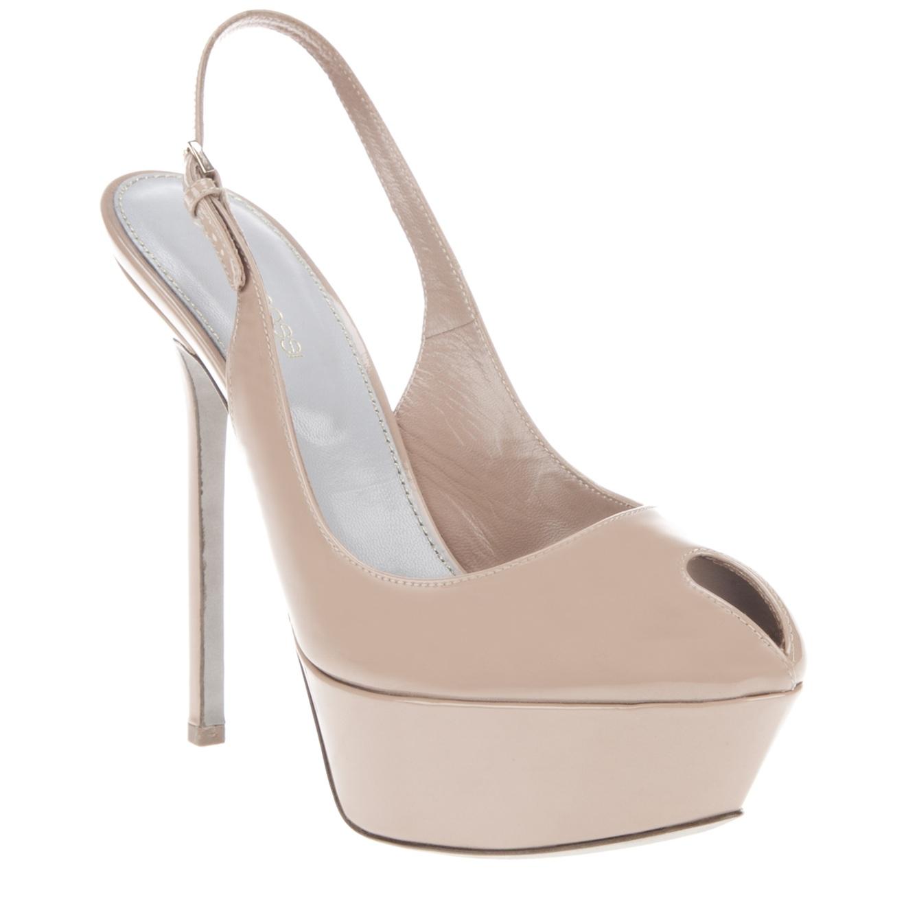 sergio peep toe platform shoe in beige lyst