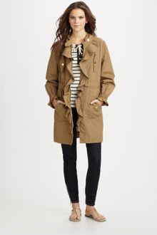 Tory Burch Ruffled Trench Coat - Lyst