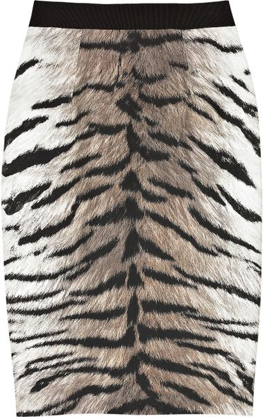 Giambattista Valli Cotton and Silk-blend Tiger-print Pencil Skirt in Animal (tiger) - Lyst