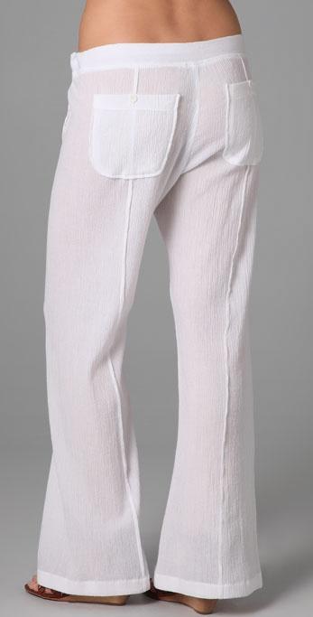 C&c california Beach Gauze Easy Pants in White | Lyst