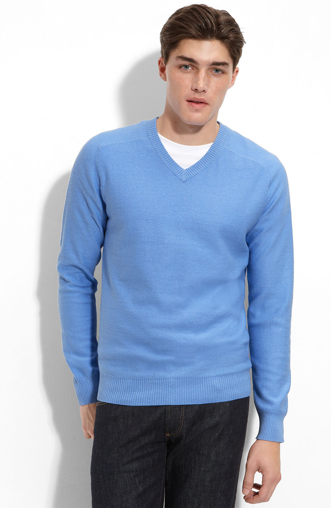 1901 Athletic Fit Cotton & Cashmere V-neck Sweater in Blue for Men ...