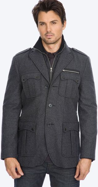 7 Diamonds Dublin Wool Blend Coat in Gray for Men (charcoal)