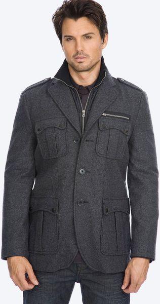7 Diamonds Dublin Wool Blend Coat in Gray for Men (charcoal)