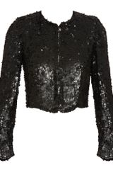 Stella Mccartney Cropped Sequin Jacket in Black - Lyst