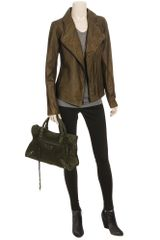 Vince Soft Leather Biker Jacket in Green (forest) - Lyst