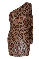 Ashish Sequined Leopard Minidress with Scarf in Brown (beige) - Lyst