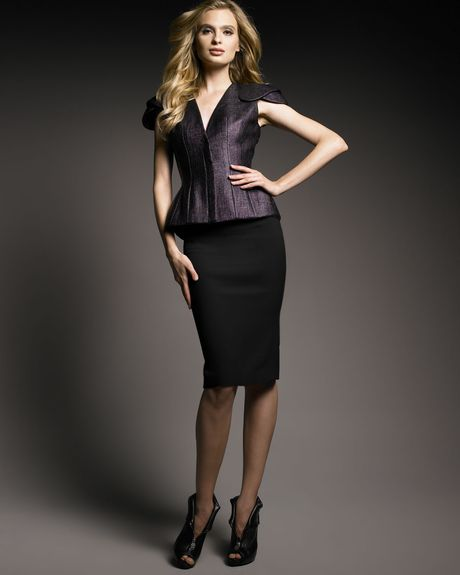 Alexander Mcqueen Crepe Pencil Skirt in Black - Lyst