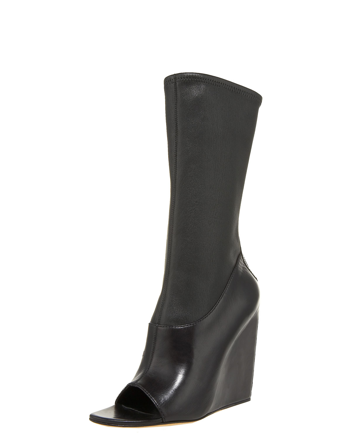 wang stretch napa open toe wedge boot in black