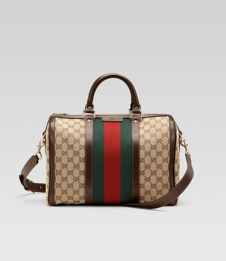 Gucci Vintage Web Medium Boston Bag in Brown (beige) - Lyst