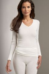 Hanro V-neck Top - Lyst