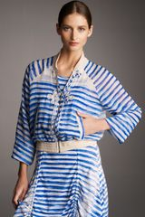 Jean Paul Gaultier Striped Tulle Bomber Jacket - Lyst