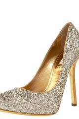 Miu Miu Glittered Pump in Silver (black) - Lyst