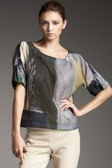 Piazza Sempione Button-sleeve Patchwork Blouse - Lyst