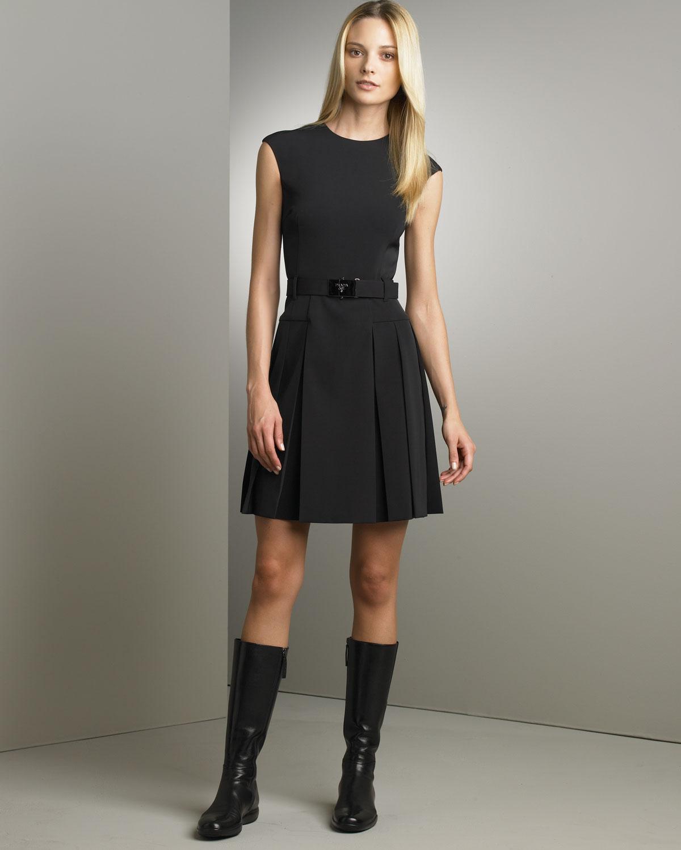 prada pleated techno dress in black lyst