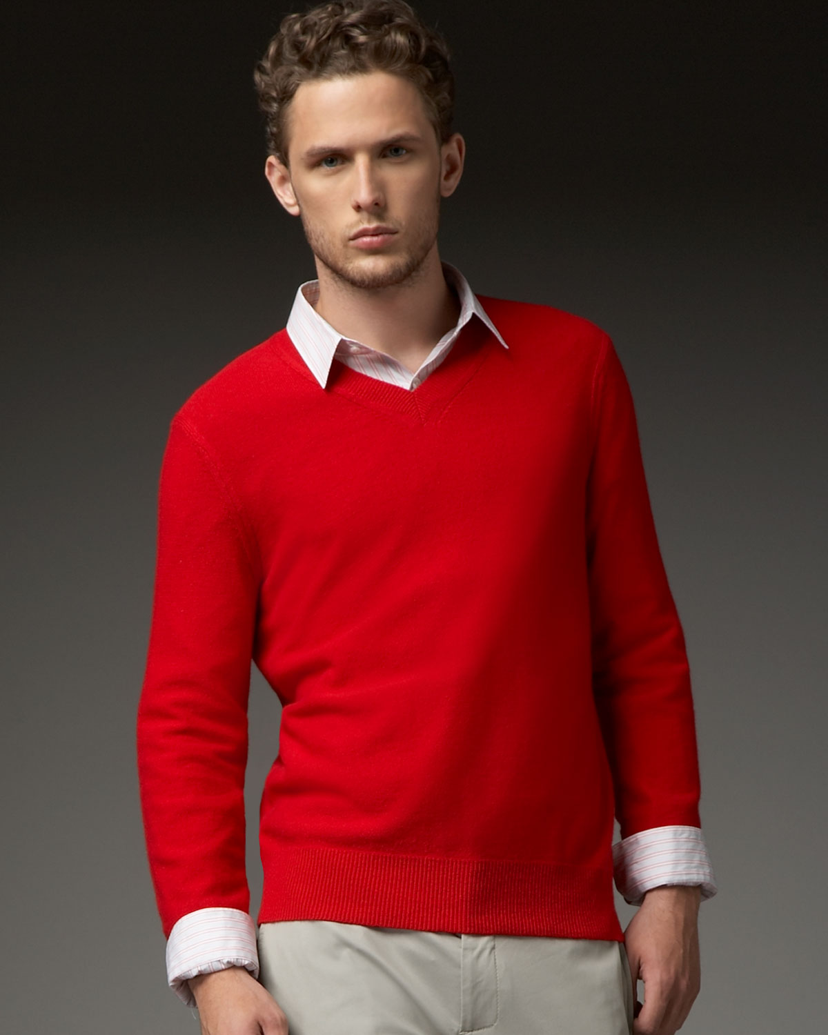 Theory Vneck Cotton Cashmere Sweater in Red for Men | Lyst