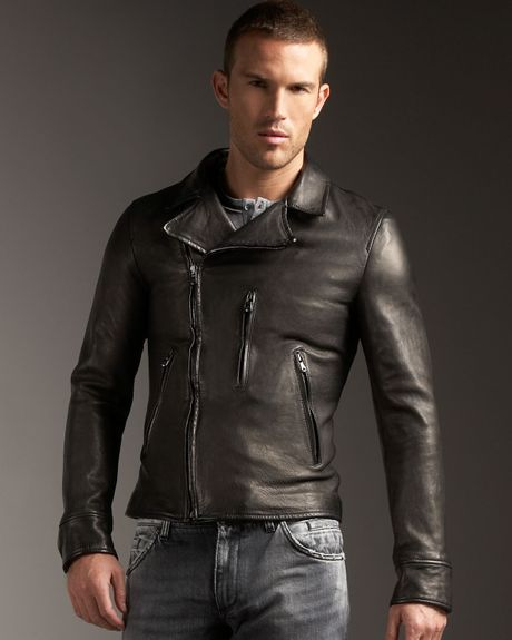 Dolce & Gabbana Leather Motorcycle Jacket in Black for Men | Lyst