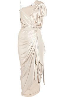 Lanvin Asymmetric Silk-satin Wrap Gown - Lyst