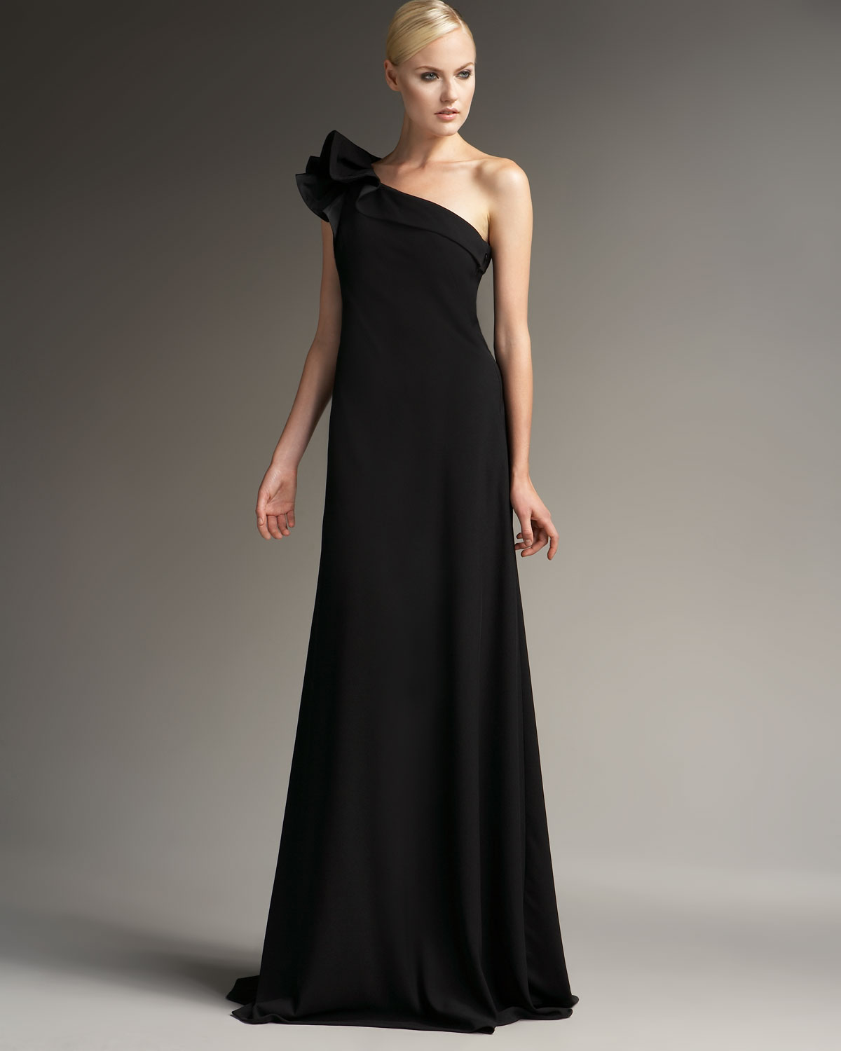 Nice Carmen Marc Valvo One Shoulder Gown Image - Best Evening Gown ...