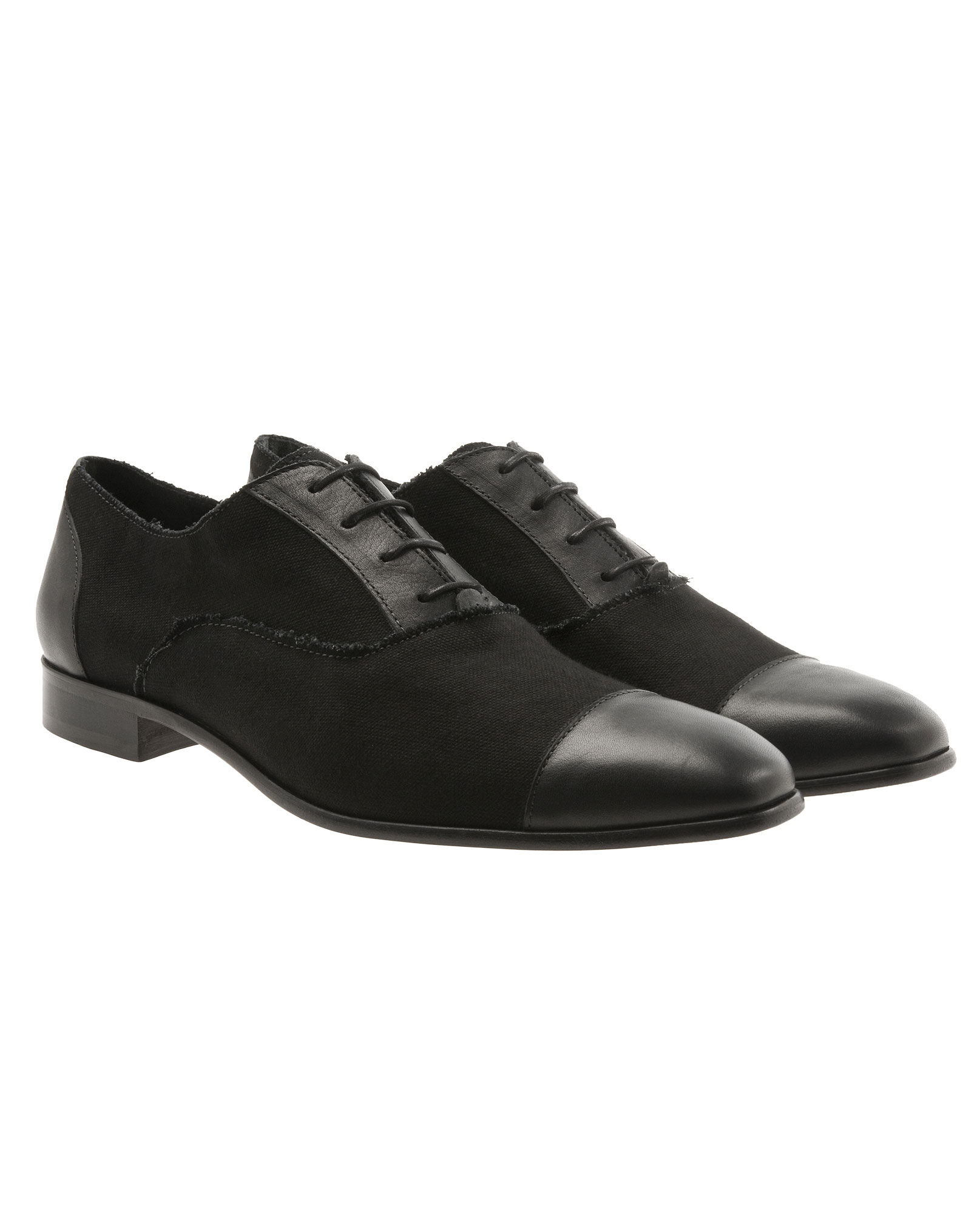 lanvin canvas and leather oxford shoes in black for lyst