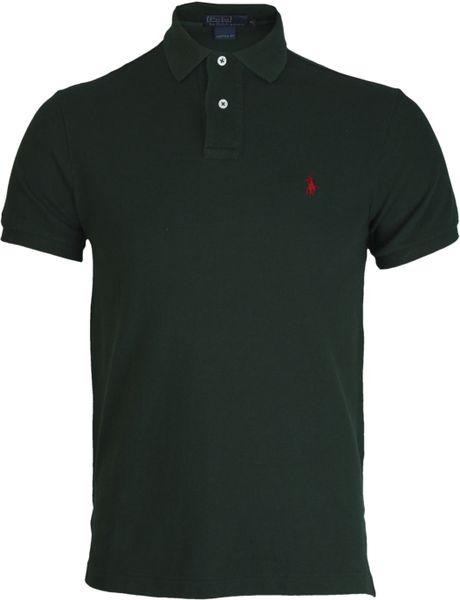 Polo ralph lauren dark green polo shirt in green for men for Dark green mens polo shirt