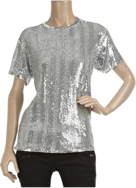 Balmain Sequined Linen T Shirt In Silver Lyst