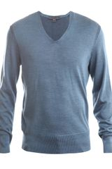 John Varvatos Plaited Silk V-neck Jumper - Lyst