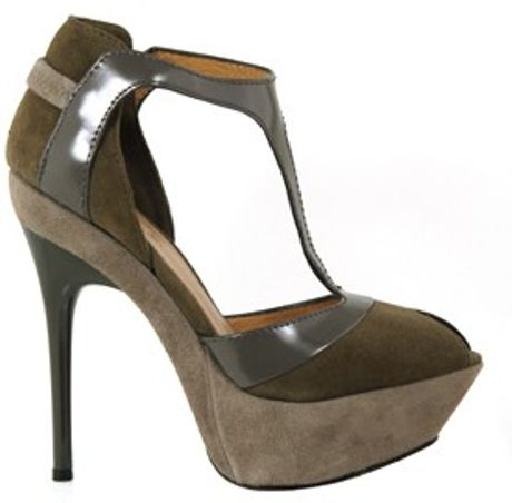 L.a.m.b. Peppa T Strap Heels in Gray (grey) - Lyst
