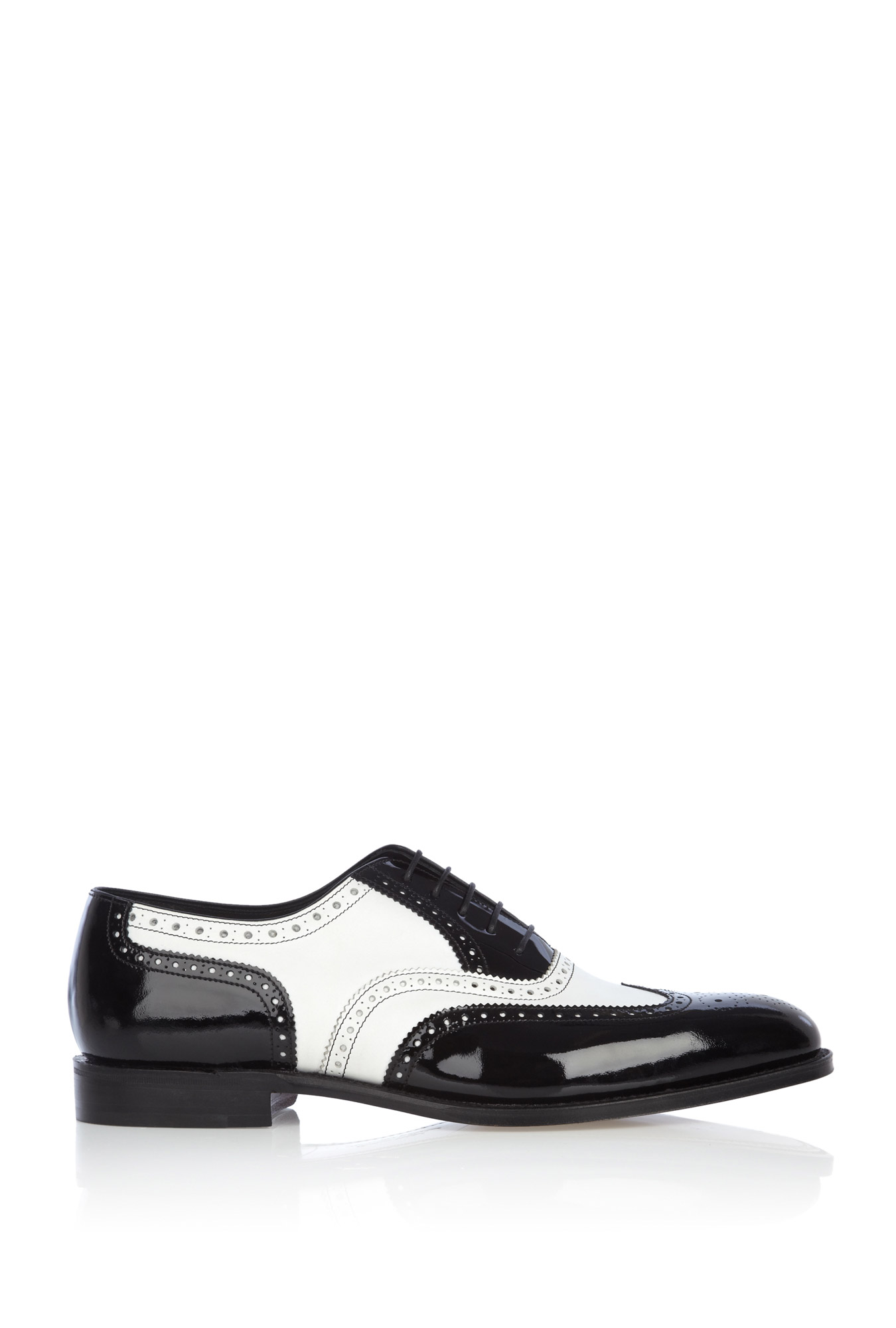 loake black patent white calf dress shoes in black for