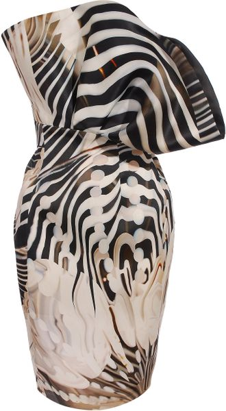 Mary Katrantzou Strapless Fan Dress - Lyst
