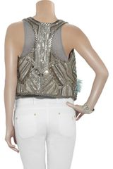 Matthew Williamson Bead and Featherembellished Vest in Silver - Lyst