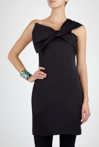 Notte By Marchesa Silk One Shoulder Bow Dress in Black - Lyst