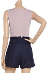 Vanessa Bruno Vneck Brushedcotton Tank in Purple - Lyst