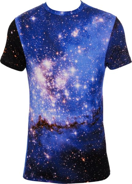 Christopher kane galaxy print t shirt in blue for men lyst for Galaxy white t shirts wholesale