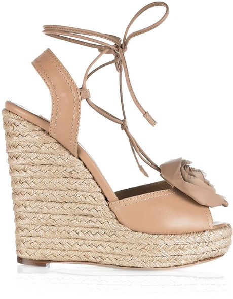 Valentino Lace Up Espadrille Wedges In Beige Sand Lyst