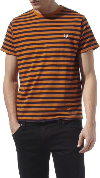 Fred Perry Breton Striped T Shirt In Orange For Men Lyst