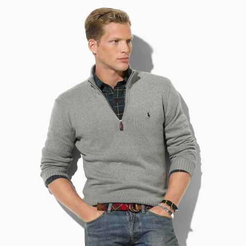 b9089e0e8116 Polo Ralph Lauren Cotton Half-zip Sweater in Gray for Men - Lyst