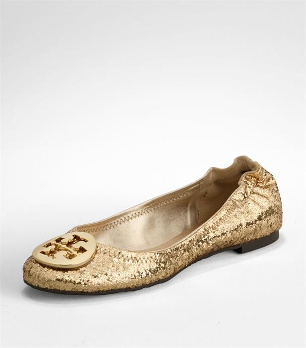 Tory Burch Reva Glitter Ballet Flats In Metallic Lyst