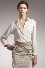 Donna Karan New York Crepe Satin Blouse - Lyst