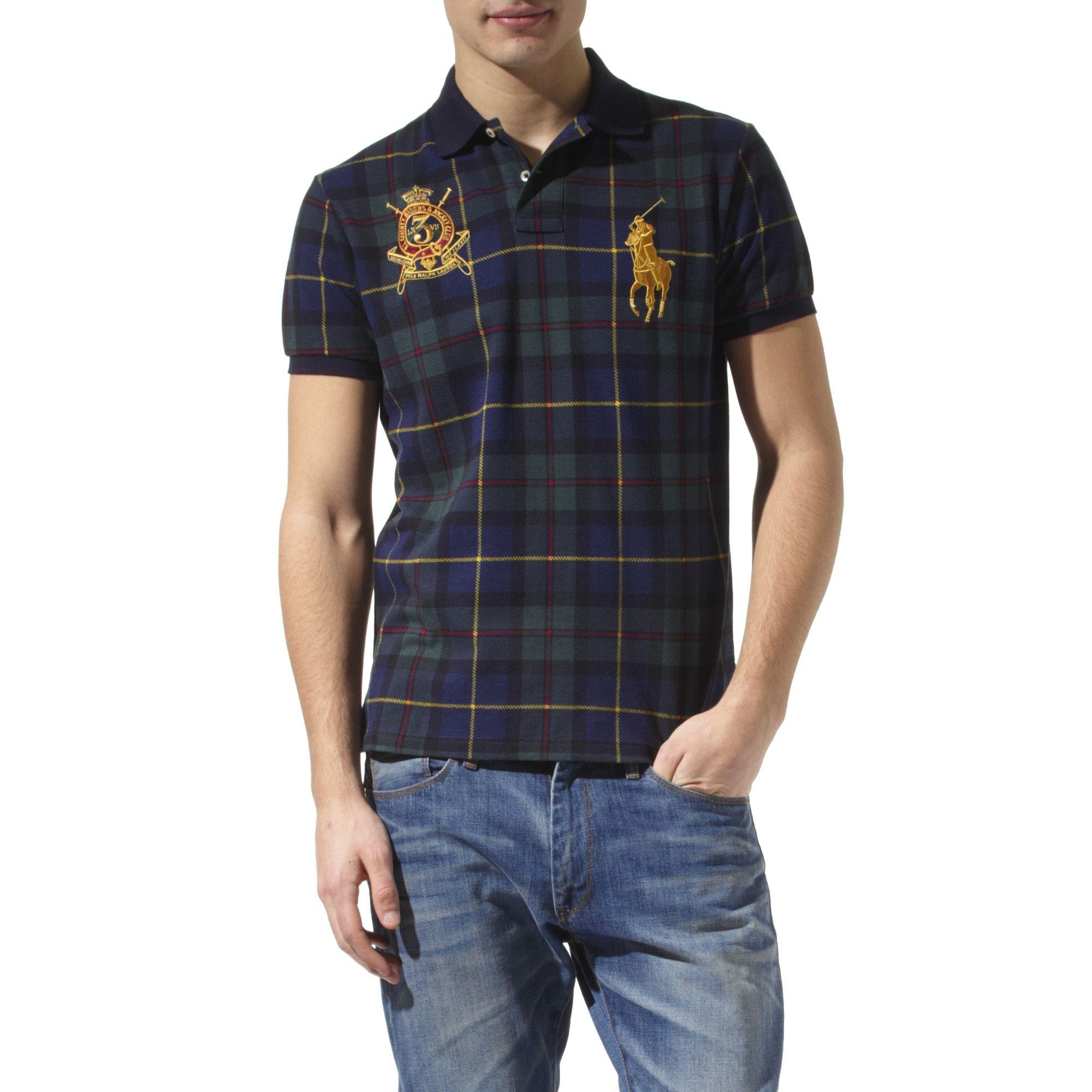 Ralph lauren custom fit tartan polo shirt in blue for men for Blue and green tartan shirt