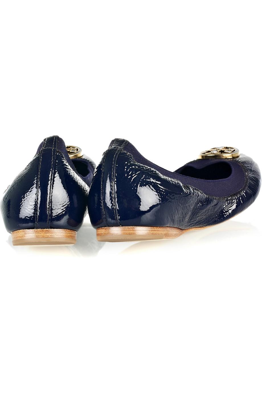 Tory Burch Caroline Patent Leather Ballerina Flats In Blue