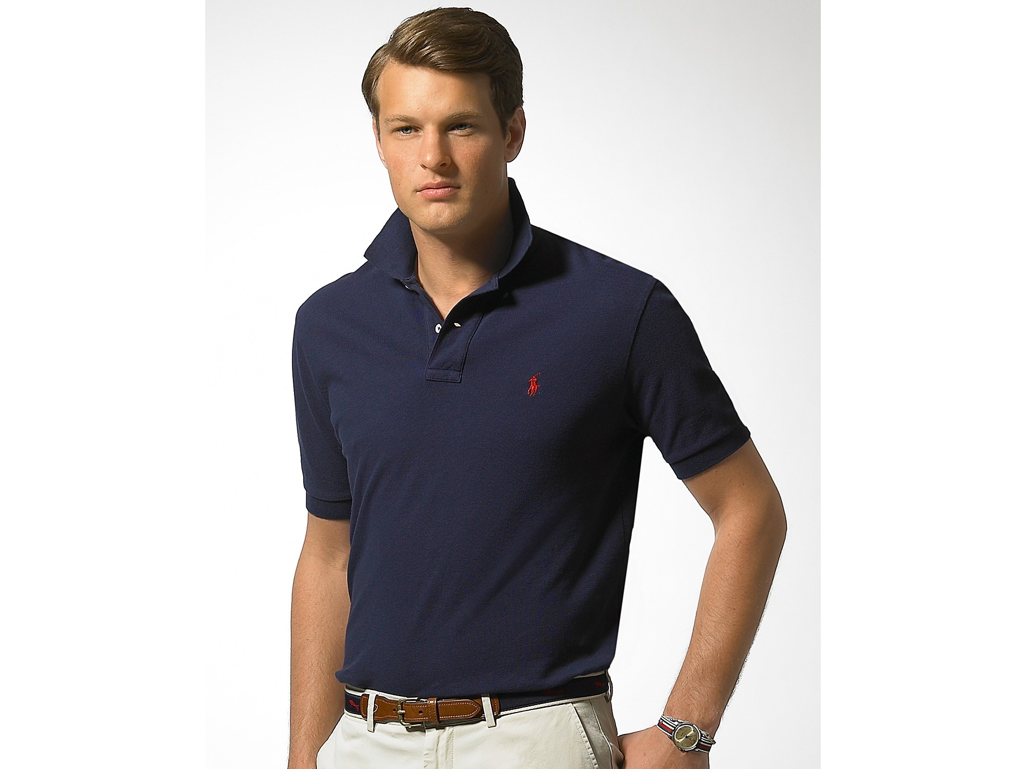 Lyst polo ralph lauren classic fit short sleeved cotton for Man in polo shirt