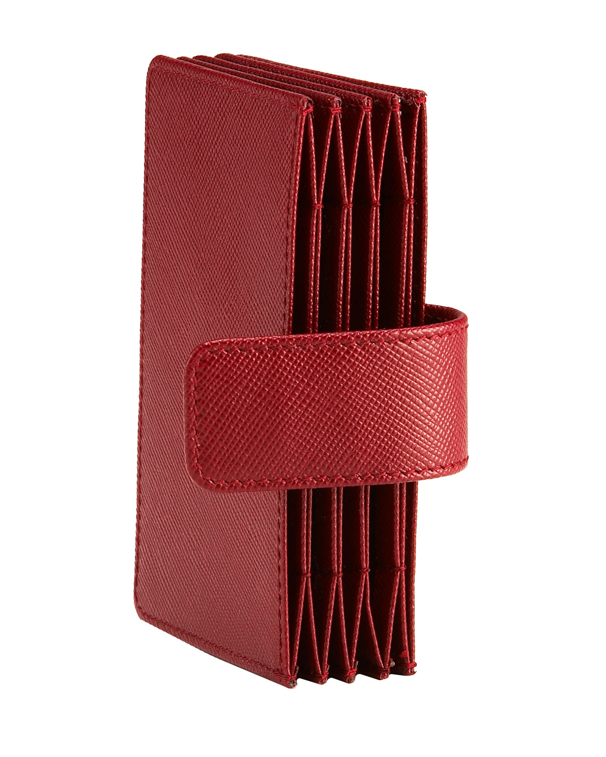 Lyst - Prada Saffiano Leather Accordion Card Case in Red