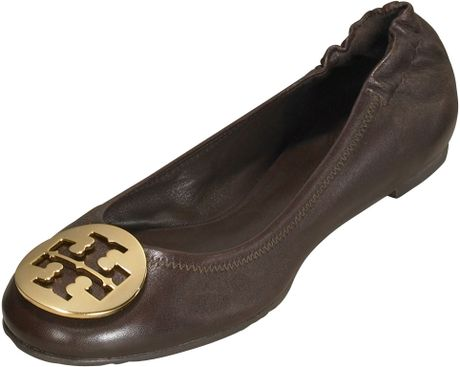 Tory Burch Reva Leather Ballet Flat in Black - Lyst