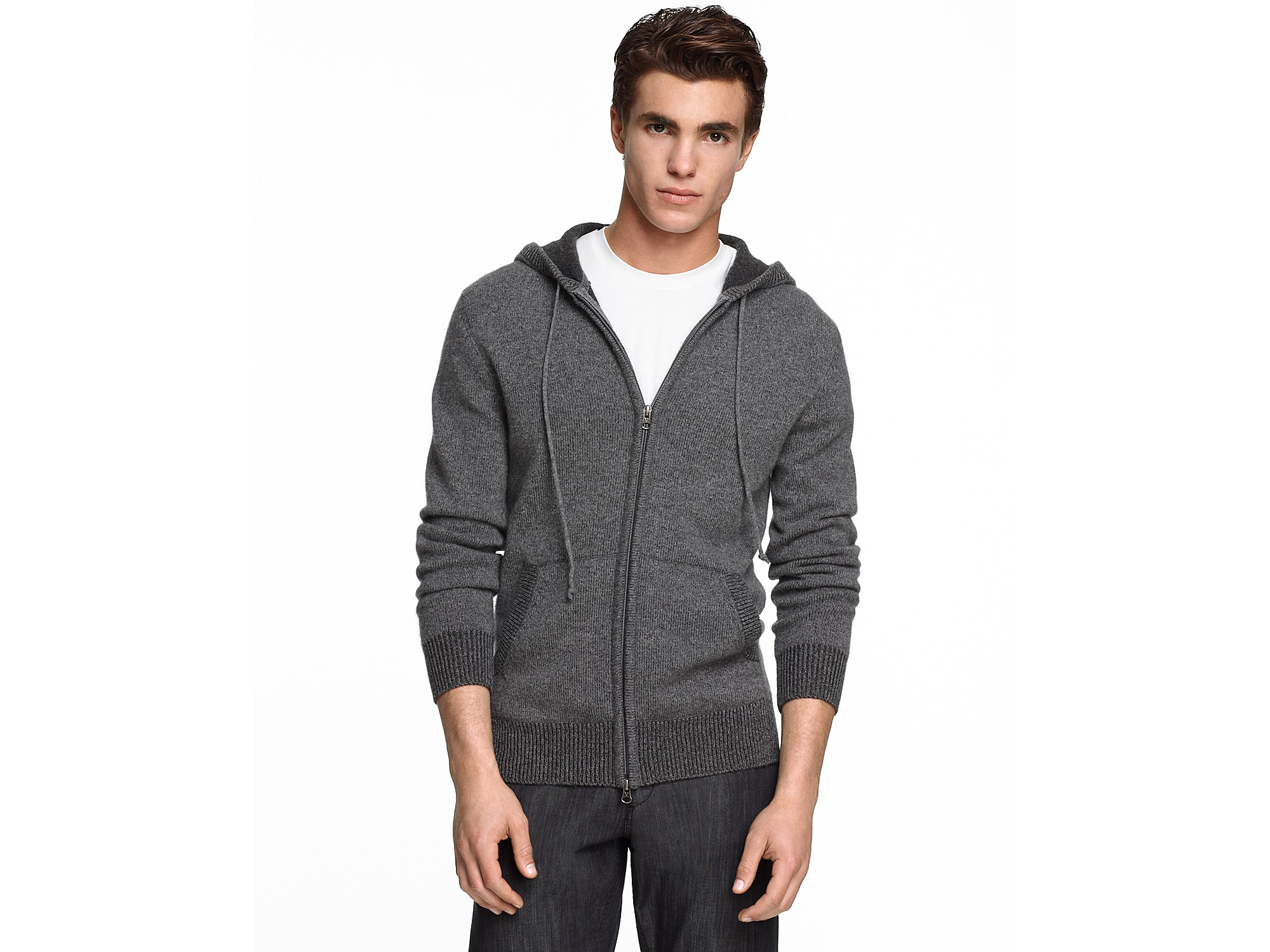 Vince Plated Cashmere Zip Up Hooded Sweater In Gray For
