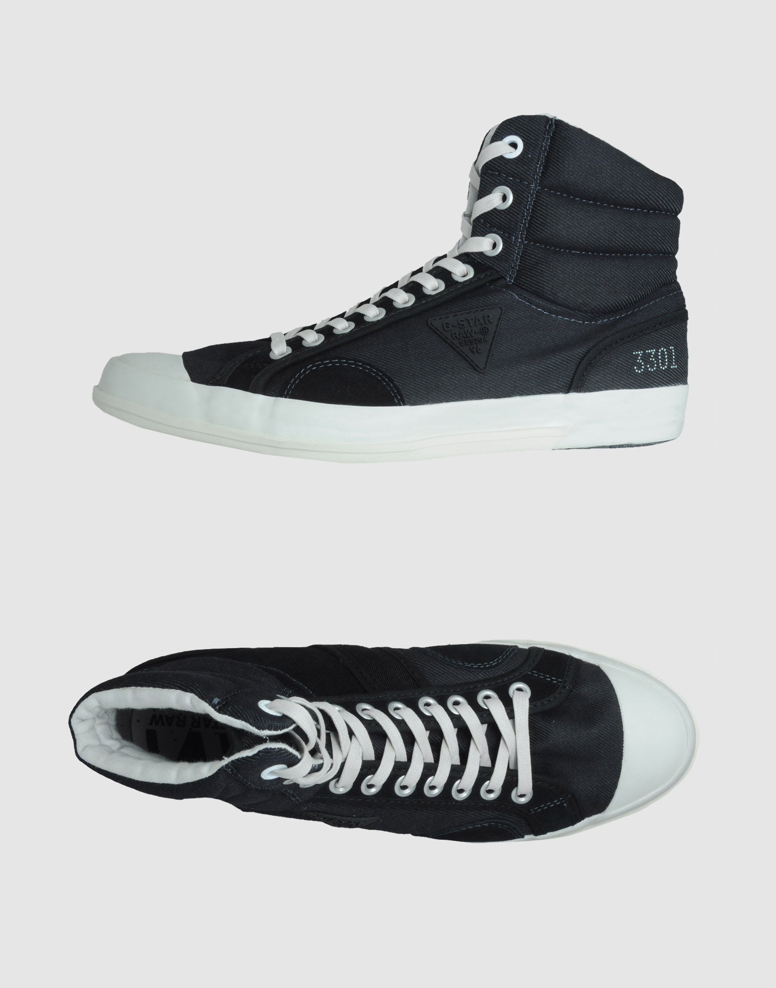 g star raw high top sneaker in black for men lyst. Black Bedroom Furniture Sets. Home Design Ideas
