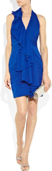Notte By Marchesa Ruffled Stretch Silk-chiffon Halterneck Dress - Lyst