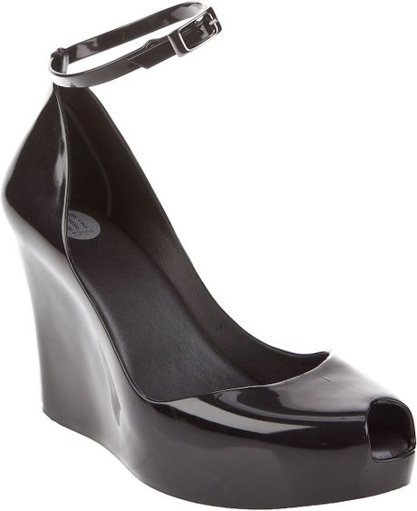 rubber peep toe wedge in black lyst