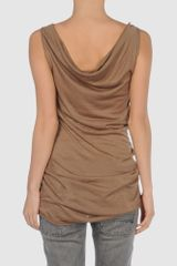 Patrizia Pepe Sleeveless Sweater in Brown - Lyst
